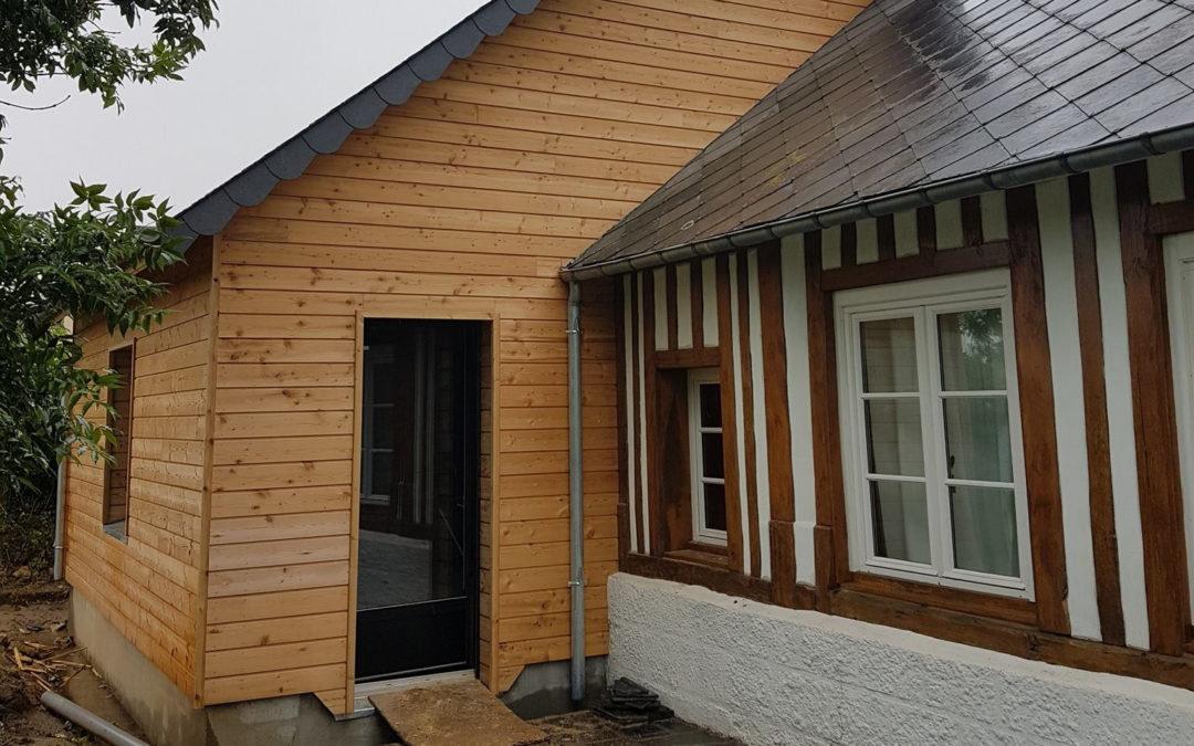 Extension en ossature bois sur colombages à Gonneville-la-Mallet
