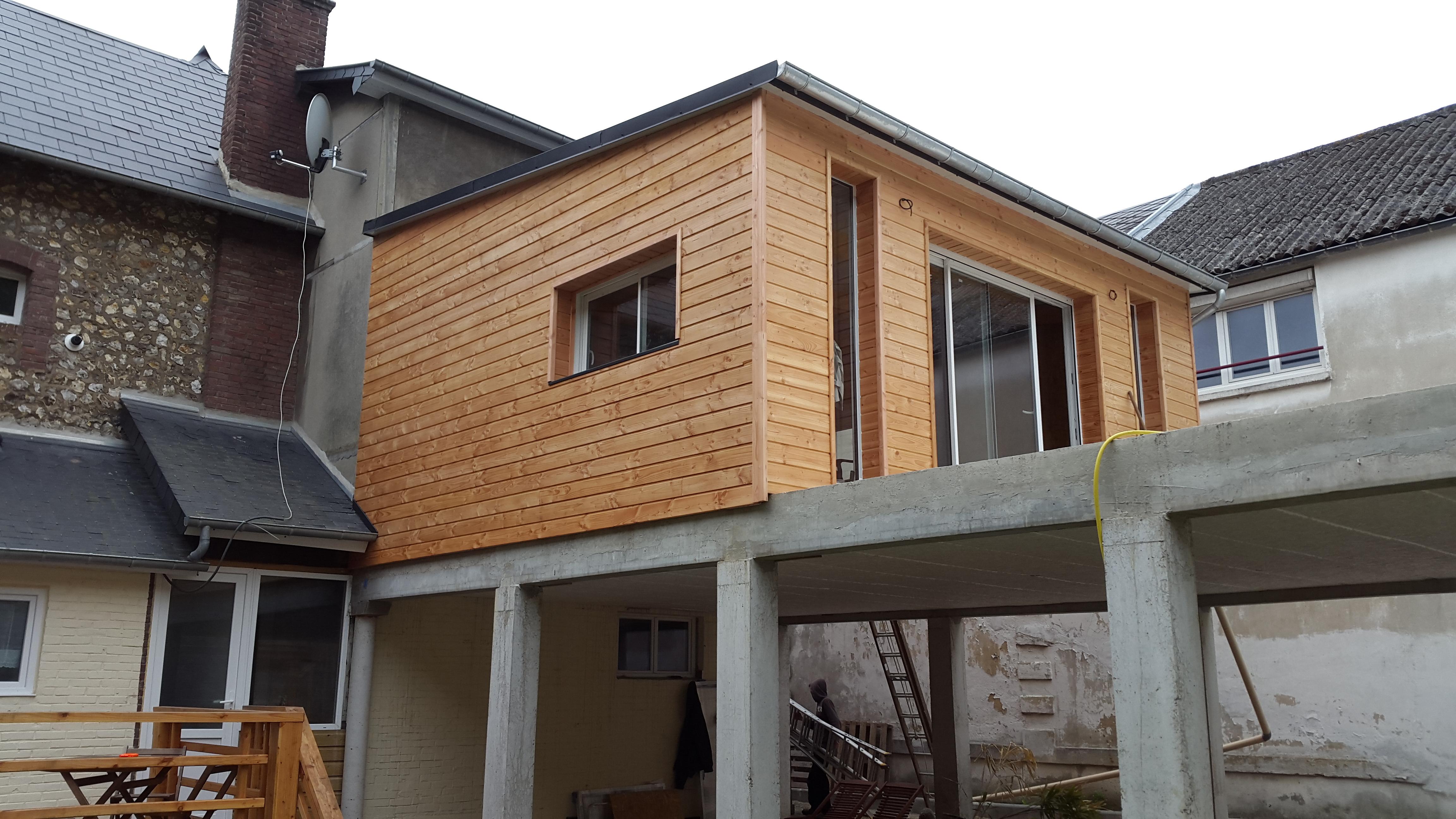 fécamp : ossature bois extension, terrasse charpente